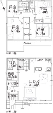 H棟建物平面図