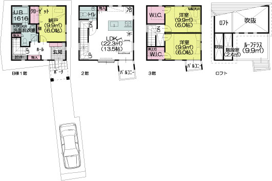 B棟建物参考平面図