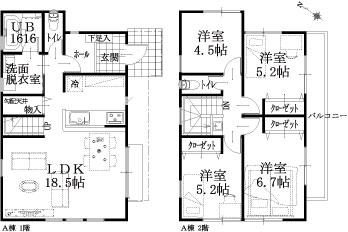 2棟:A棟建物平面図