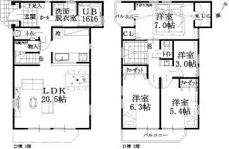D邸建物平面図